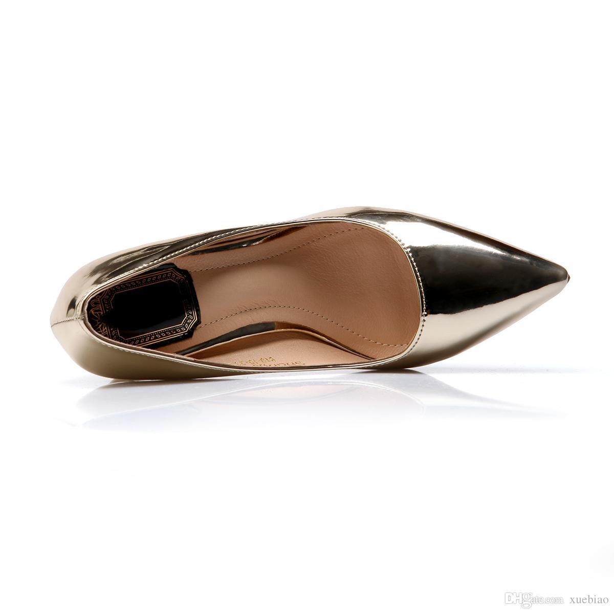 Sıcak satış 2016 büyük boy 33-43 yeni bahar metal renk rugan sivri burun yüksek tıknaz topuk kayma-on parti kadın pompaları elbise ayakkabı 268