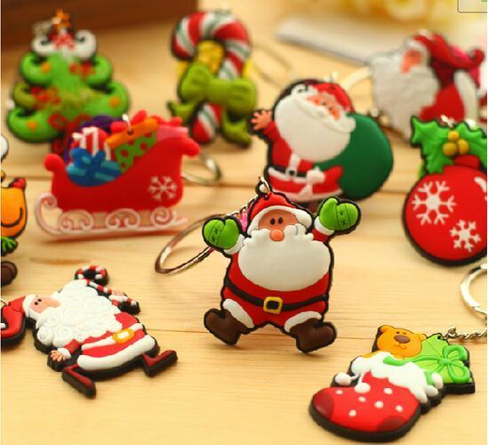 5cm Santa Claus Key Chains Rings Christmas Gift Soft Pvc Keychain Kids Toys Christmas Tree Ornaments Mixed Designs