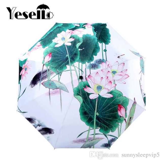 2019 Yesello Lotus Flower Sunny And Rainy Umbrella Oil Painting 3