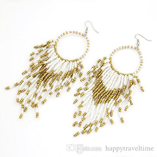 Estilo bohemio granos de la semilla círculo borla gota cuelga gancho pendientes personalidad encantos joyería para mujer