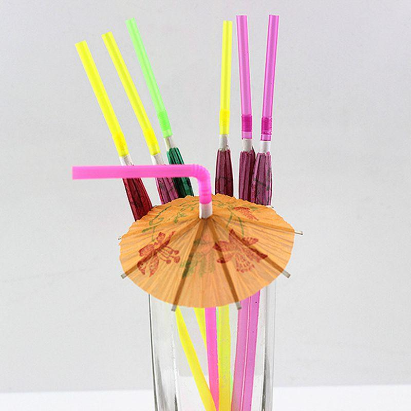 Plastic Straw KTV Bar Cocktail Decorations Cocktail Parasols Umbrellas Drinks Picks Wedding Event Cheap Multi-Colored DIY Plastic Straw