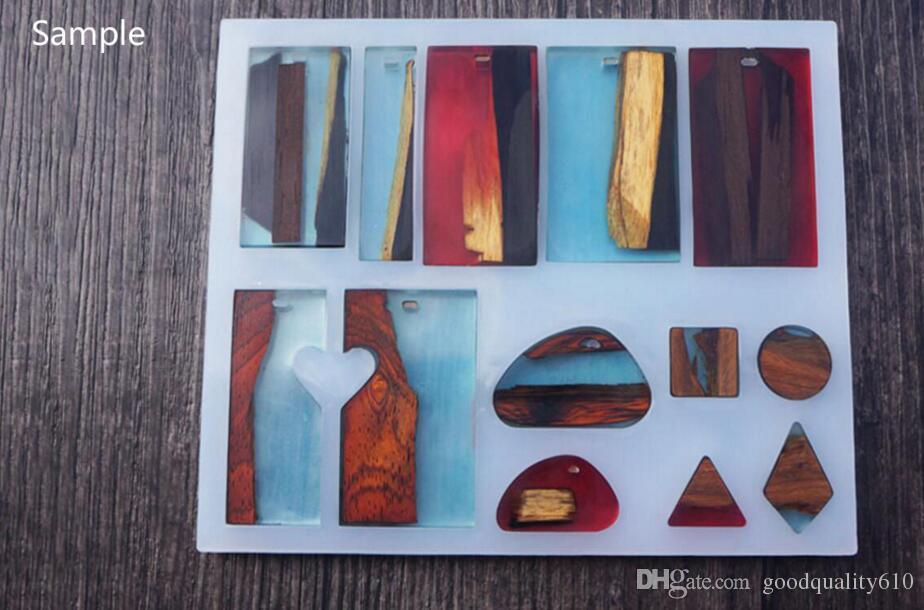 Прямоугольник / камень Cabochon кремниевая плесень плесень с отверстием для эпоксидной смолы драгоценные камни ювелирных изделий изготовления инструмента DIY Craft аксессуары