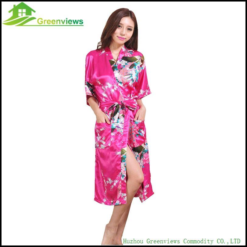 Wholesale- Wedding Bride Faux Silk Robe Bathrobe Short Kimono Robe Night Bath Robe Fashion Dressing Gown