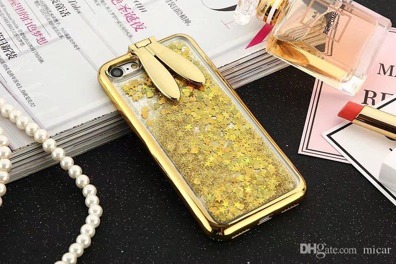 3D Cute Rabbit Ear Stander Case For iPhone X 7 plus Soft Silicon PC Glitter Liquid Quicksand For iPhone 6 6plus Girl Cover