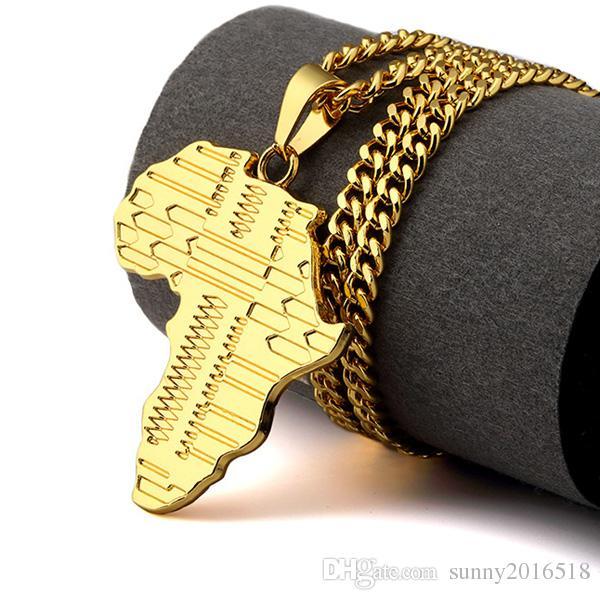 Trendy Rock Hippie African Map Collana pendente in oro 18 carati placcato oro catena lunga collane gioielli partito i la scelta
