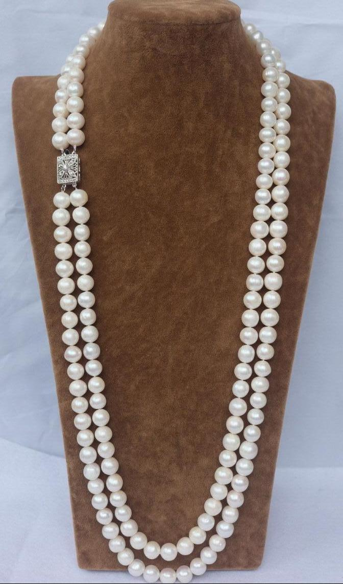 d3897218f7d065 2019 CHARMING NATURAL 2 ROW 7 8MM WHITE AAA++ AKOYA SOUTH SEA PEARL NECKLACE  24inch From Lxlpearl, $40.2 | DHgate.Com