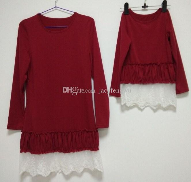 Mother And Daughter clothes family matching Christmas dresses for girl lace skirt baby Outfit girls fall fashion Children Costume QZZW021