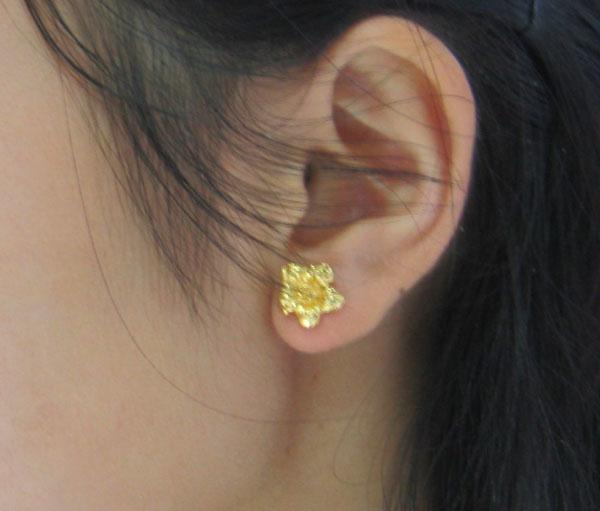 Do not fade like a pure gold 999 thousand gold earrings female character gold wedding jewelry flowers ear