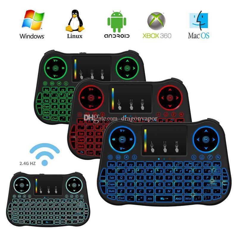Air Mouse Remoto Rii Mini MT08 Android TV Caixas Teclados Retroiluminado 7 cores Backlit 2.4 GHz Teclado Sem Fio