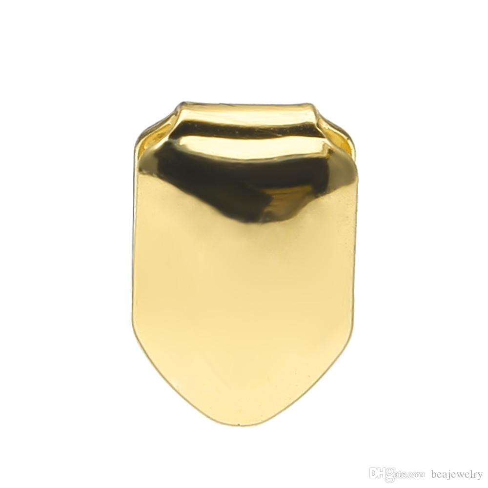 14k chapado en oro de un solo diente Parrilla de la parrilla de la parrilla Dientes caninos para hombre Hip Hop Custom Grillz