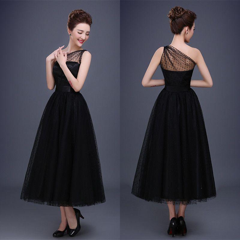Wholesale 2016 New Bride Evening Dress Vintage Shoulder: 2017 Vintage Black Bridal Evening Dresses One Shoulder
