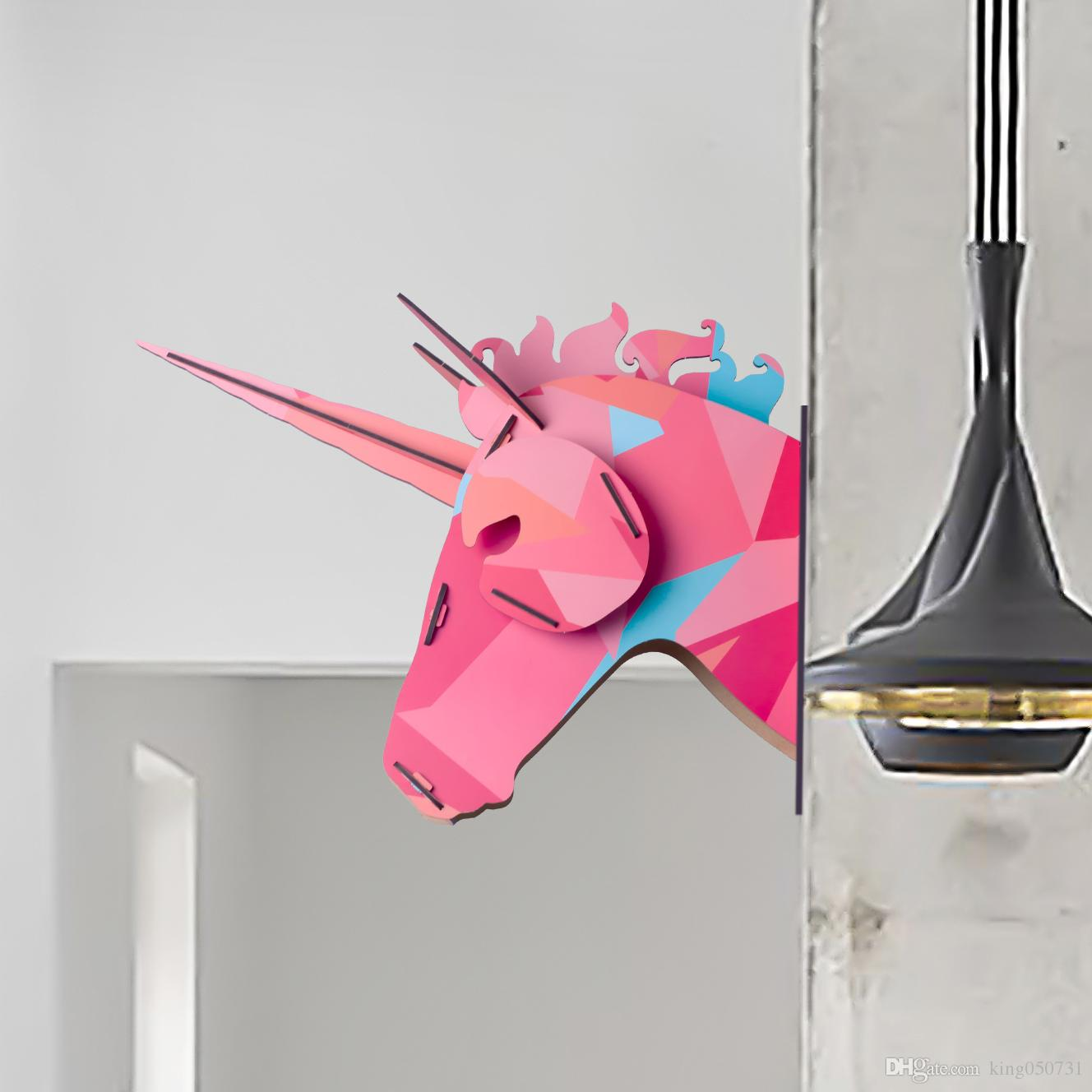 2016 new band 3d wooden animal horse unicorn head wall sticker see larger image