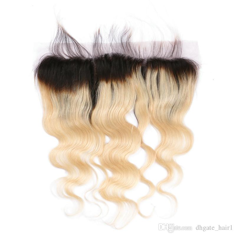 Body Wave 1B/613 Blonde Ombre Malaysian Human Hair Silk Base 13x4 Full Lace Frontal Closure With Baby Hair Free Middle Three Part
