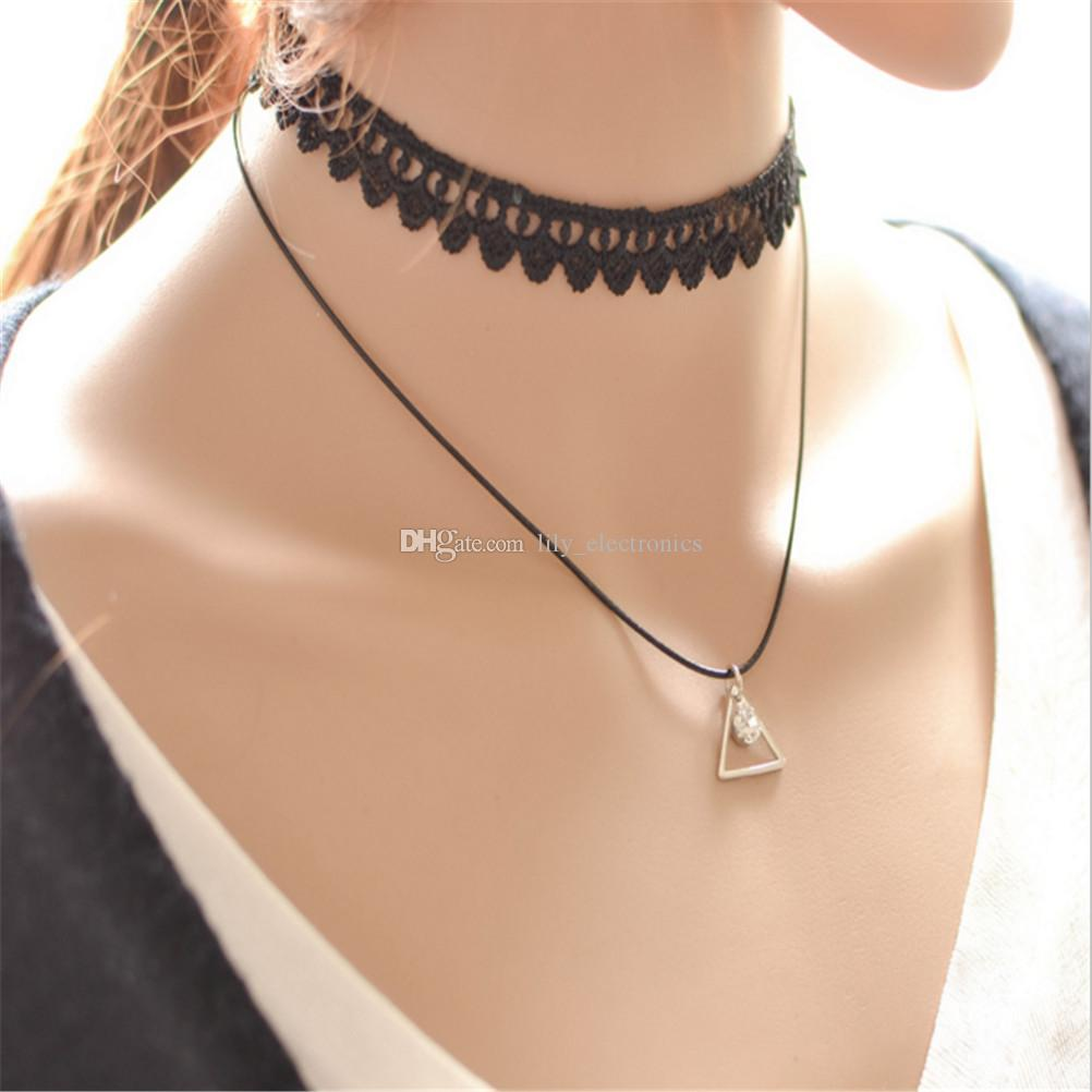 Black Gothic Collar Lace Necklace Multilayer Alloy Triangle Crystal Pendant Chain Chock Jewelry For Women Pack of