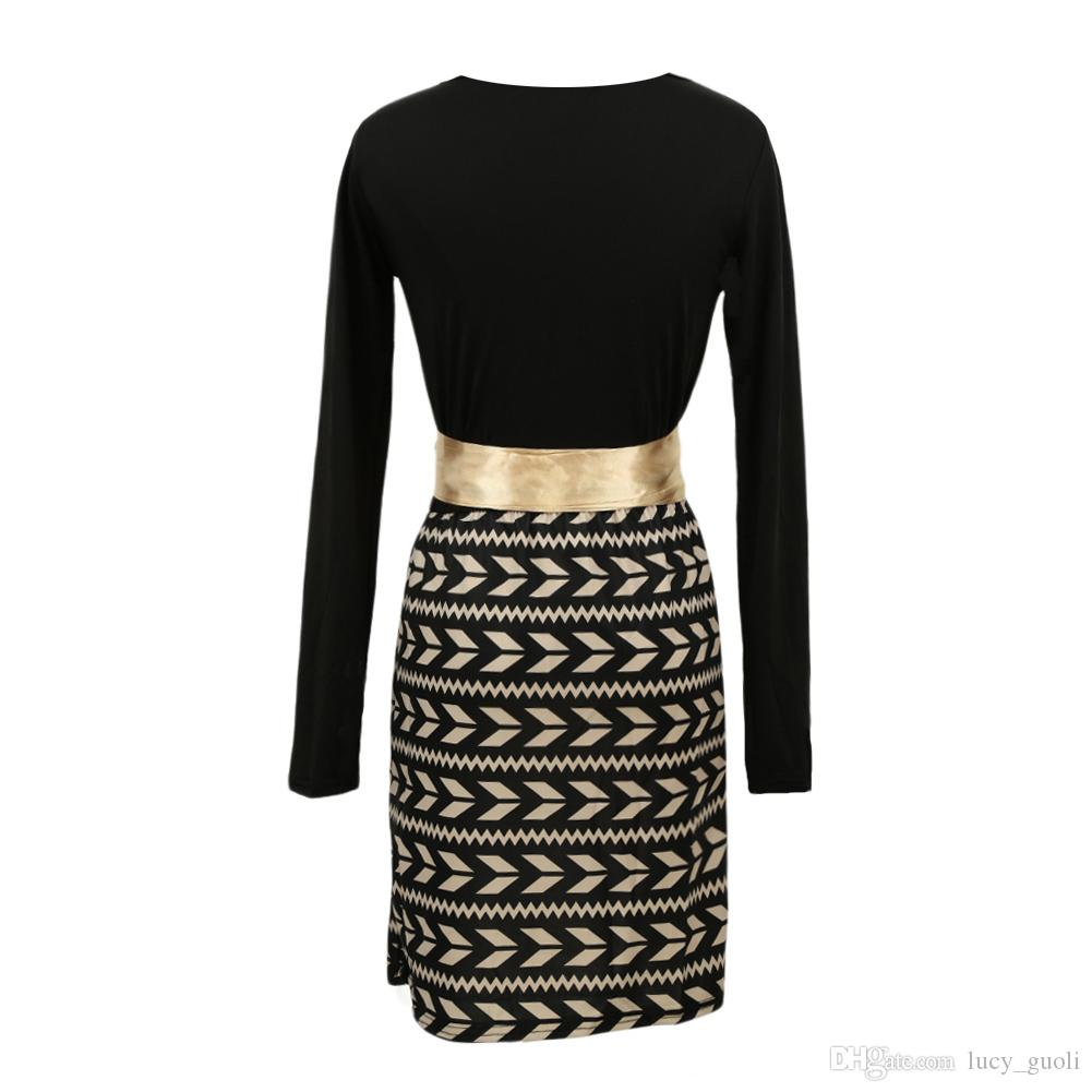 Plus größe frühling dress 2016 mode langarm frauen büro dress schwarz damen party verband dress plus größe vestidos paneled print dress