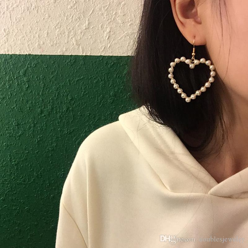 In western fashion sweet pearl love all-match hollow non pierced ear clip earrings accessories sales volume