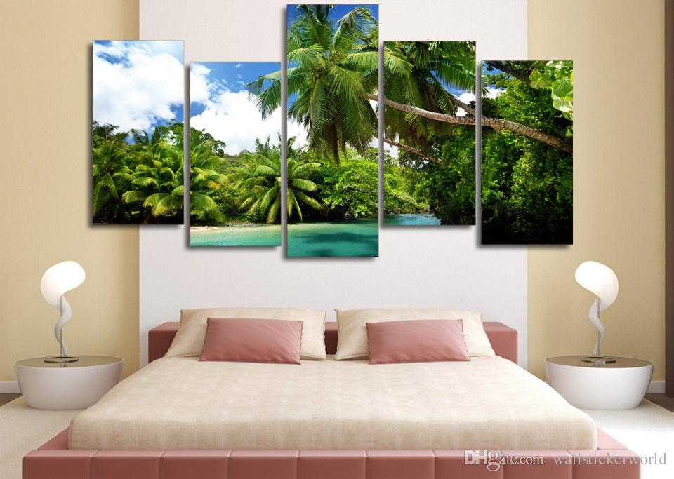 Framed Printed Blue sky beach coconut trees Painting Canvas Print room decor print poster picture canvas /ny-4937
