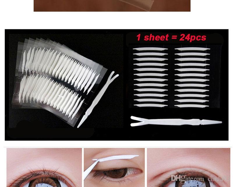 Toptan-Yeni 240 adet / grup 3D Çift Taraflı Görünmez Gözkapağı Bant Güçlü Yapıştırıcı Göz Kapağı Sticker Güzellik Gözkapağı Araçları Kadınlar Için Kız ücretsiz shipp