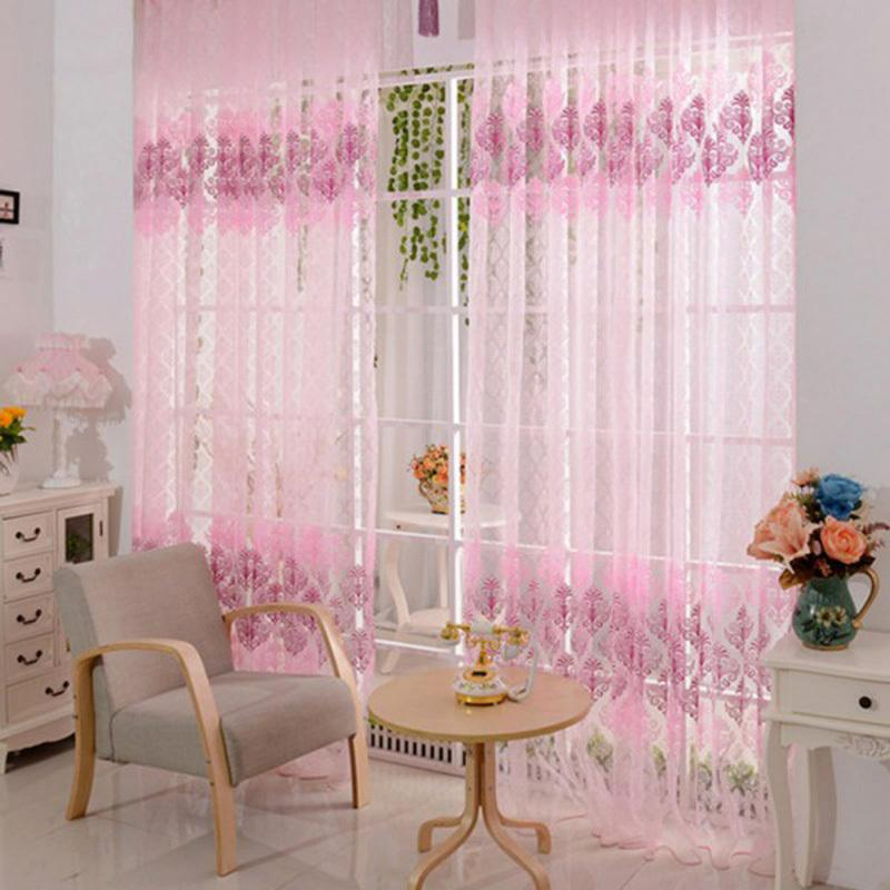 200*100cm Pink Floral Valance Voile Curtains For Living Room Window Curtain  Tulle Sheer Curtains Cortinas Rideaux E5m1 Order≪$18no Track Outdoor Chair  Pads ... Part 62