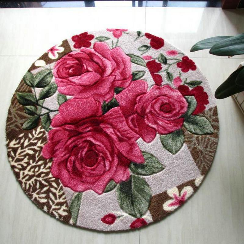 Round Rug Red Rose / Shaggy Carpet For Bedroom Mats / Carpets For Living  Room Mat Rug/Cream Coloured/Red Industrial Style Rugs Carpets N Carpets  From Bigmum ...