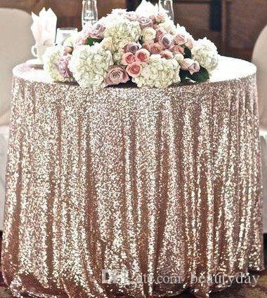 Tovaglia da matrimonio Great Gatsby Bling oro tondo e rettangolo Aggiungi Sparkle con paillettes torta nuziale idea tavolo Masquerade Birthday Party