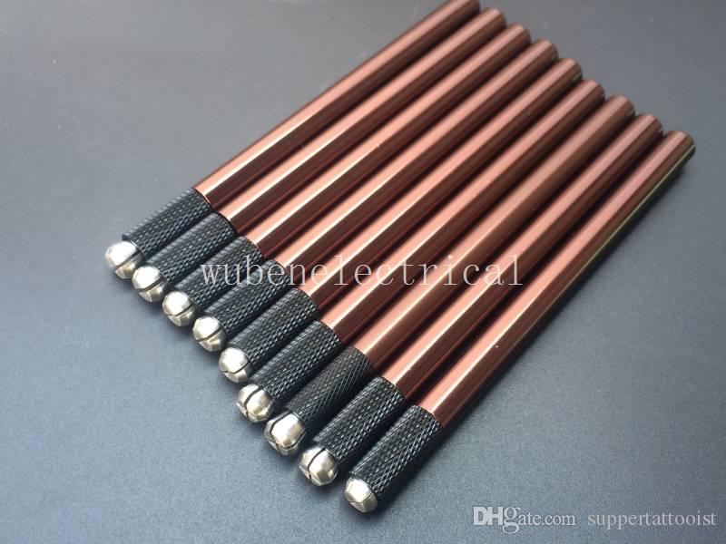 Penna del tatuaggio del sopracciglio del manuale di alta qualità marrone di Microblading del Brown di alta qualità della lega marrone di alluminio di