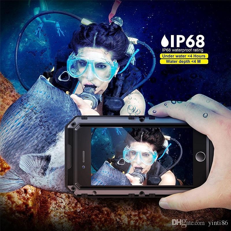 Iphone 7 için Su Geçirmez Kılıf Metal Alüminyum Zırh Yüzme Su Geçirmez Kapak Için X 8/8 Artı Darbeye Kapak Mühür IP68 Parmak Izi ...