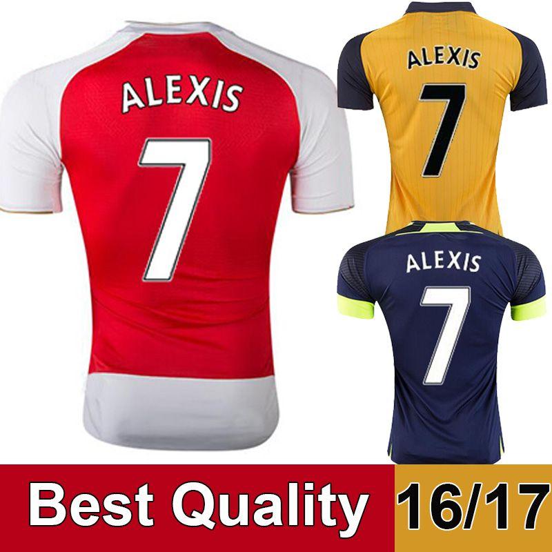 36e271a4 New 16/17 Alexis Soccer Jerseys 2016 Home Red Away Yello Third Green 2017  OZIL WILSHERE GIROUD WALCOTT RAMSEY CAZORCA Football shirts