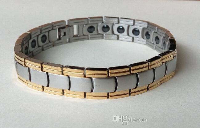 New 2015 fashion best quality Stainless steel black gold silver healthy energy bracelet with benifits element magnetic jewelry