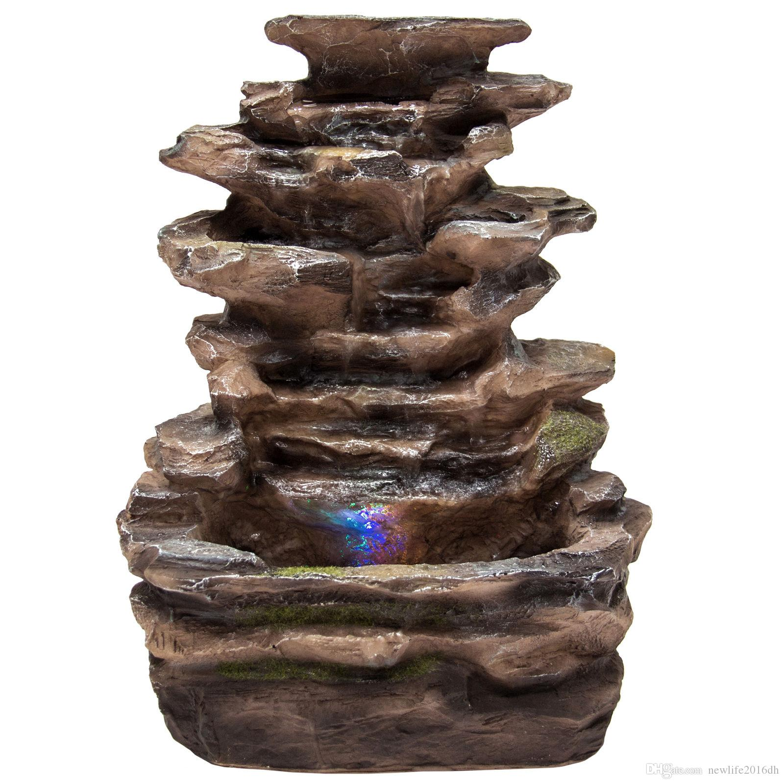2018 Home Indoor Tabletop Fountain Waterfall With Multicolor Led ...