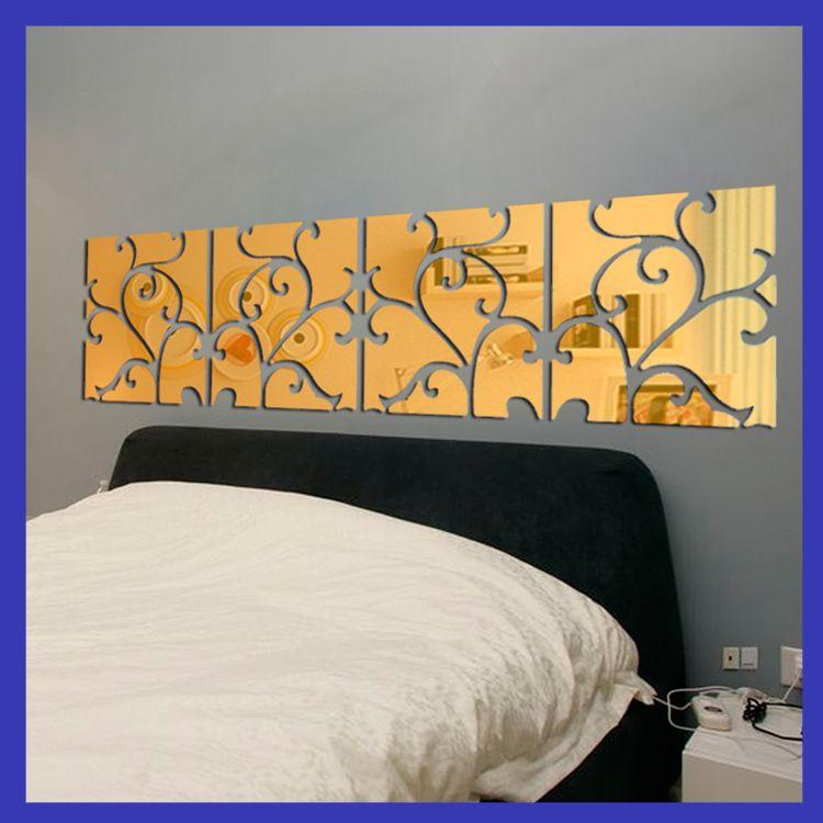 DIY 4lot3D Home Decoration Acrylic Mirror Wall Stickers Modern Design Living Room Home Decor Sticker Best Mirror Effect