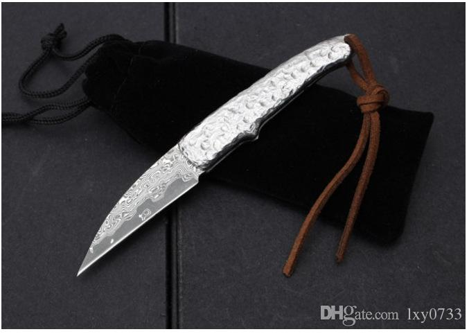 60HRC Handmade Damascus steel blade Pocket Folding Knife with computer carved Handle utility knife silversmith gift knife