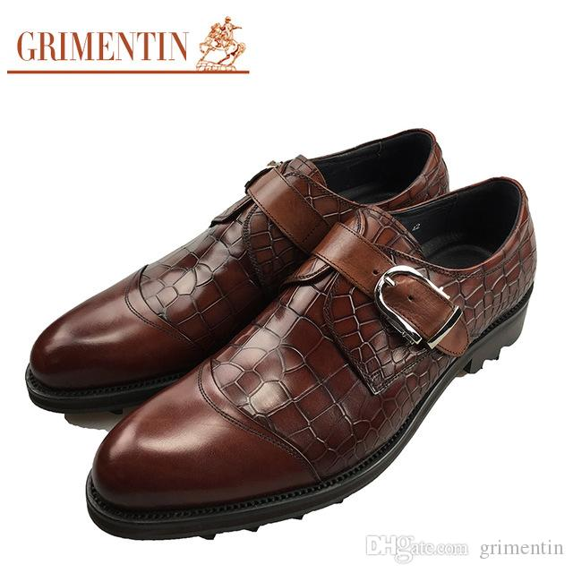 10f5a56a5 GRIMENTIN Hot Sale Italian Fashion Formal Mens Dress Shoes Crocodile Style  Men Oxford Shoes Genuine Leather Thick Soled Business Men Shoes Loafers Mens  ...