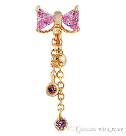 Stylish Bow Crystal Dangle Chain Piercing Jewelry Navel Ombligo Belly Button Bar Barbell Rings Body Jewelry