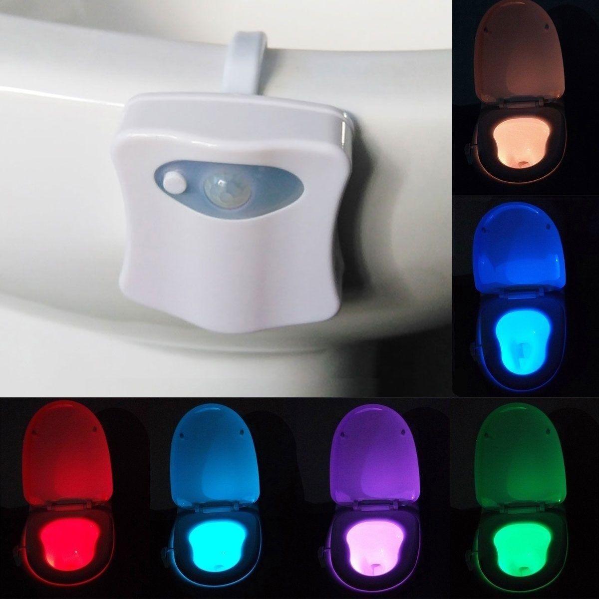closestool light hot sale human motion sensor automatic seat led light toilet bowl bathroom 8color lamp free shipping