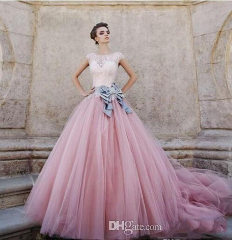 Quinceanera Ball Gowns Dresses 2019 New Cap Sleeves Pink Peach Tulle Beadings Sweet Sixteen Long Party Gowns Formal Pageant Dress 291