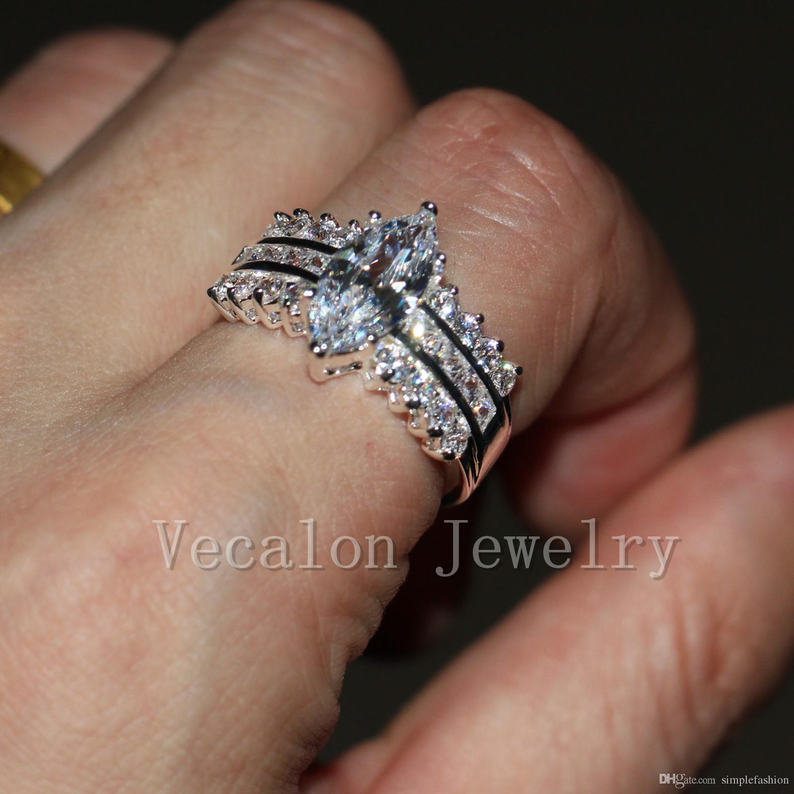 2016 패션 브랜드 수제 마키스 컷 5CT Cz를 시뮬레이션 다이아몬드 여성을위한 925 스털링 실버 약혼 밴드 결혼 반지 Vecalon