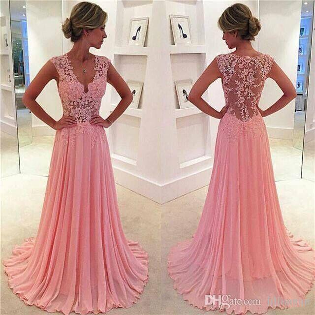 2016 Sweety Blush Pink A Line Evening Dresses Lace Appliques Plunging V neck Sexy Evening Gown Sheer Cap Sleeves Girls' Party Dres po13