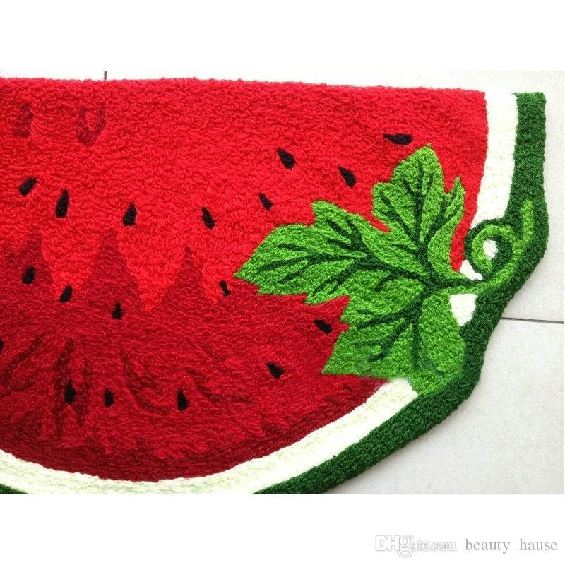 Watermelon Shaped Hand Hooked Mat Wohntürmatten, neue Art und Weise gestickte Porch Fußmatte Boden Karpet Küche Teppiche Geschenk