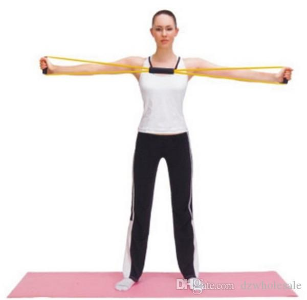 120 unids / lote Resistencia 8 Tipo Expansor Cuerda Entrenamiento Ejercicio Yoga Tubo Deportes envío gratis