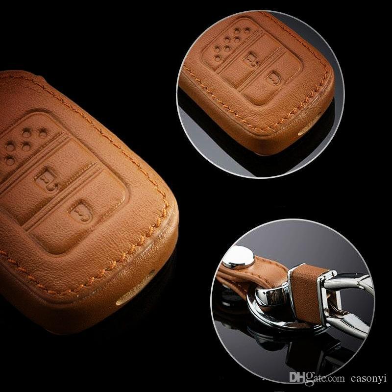 Couro genuíno Car Key Case Cover Keychain Ajustes para Ford Mondeo Mondeo novo Explorador de Borda inteligente / Folding remoto Car Chaveiros