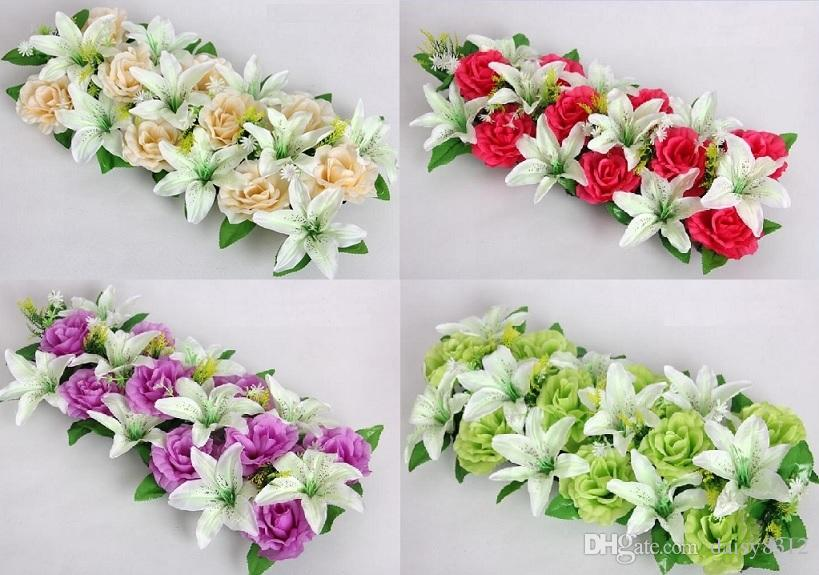 18 heads Artificial Silk Hot Pink Rose &White Lily Arch Frame In a row Decorative Wedding Road Led Flower Wedding Props