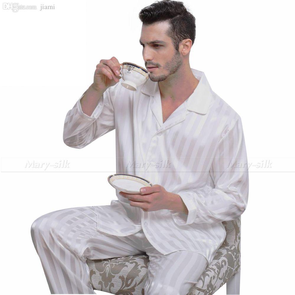 731c1fd767 2019 Wholesale Mens Silk Satin Pajamas Set Pajama Pyjamas PJS ...