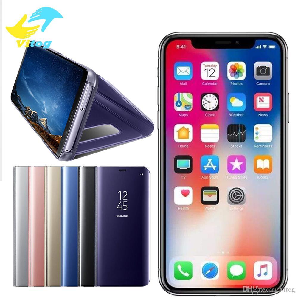 Titular phone case para iphone x xr xs max s8 s9 s10 além de huawei  galvanizar clara inteligente kickstand espelho vista tampa da aleta vigília  do sono 08063dc9d8