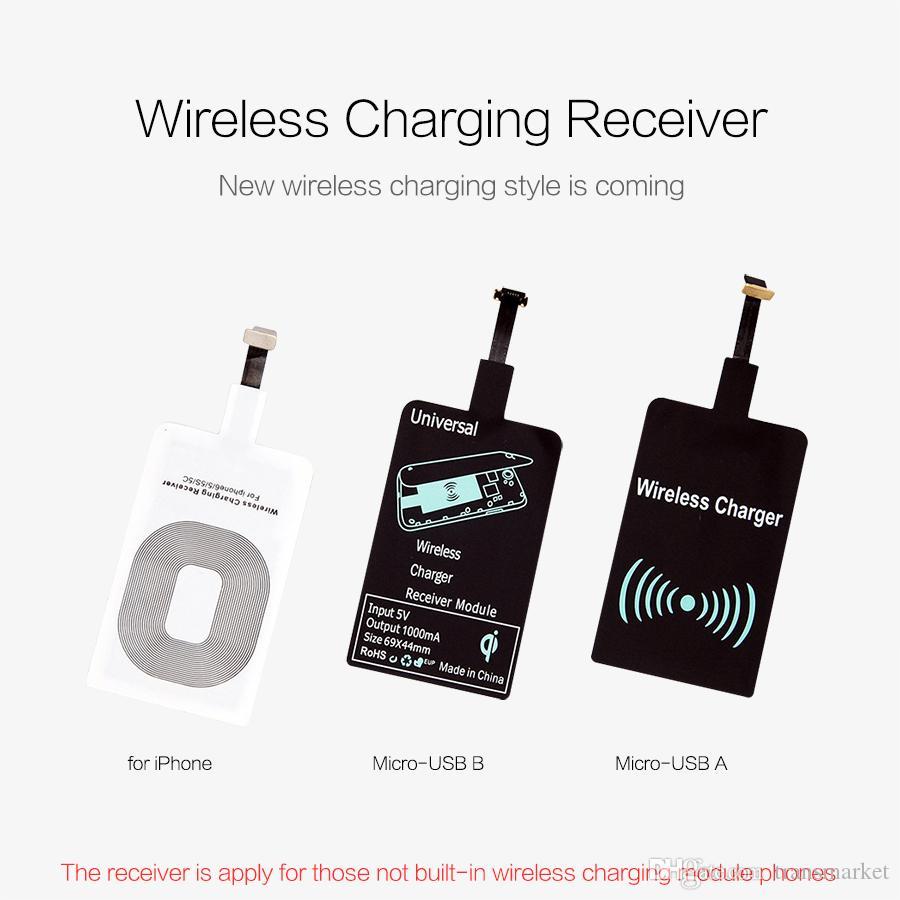 QI Kablosuz Şarj Alıcısı Mikro USB Şarj Adaptörü Reseptör 7 Xiaomi Huawei i8 i8 artı s8 s8 artı ix