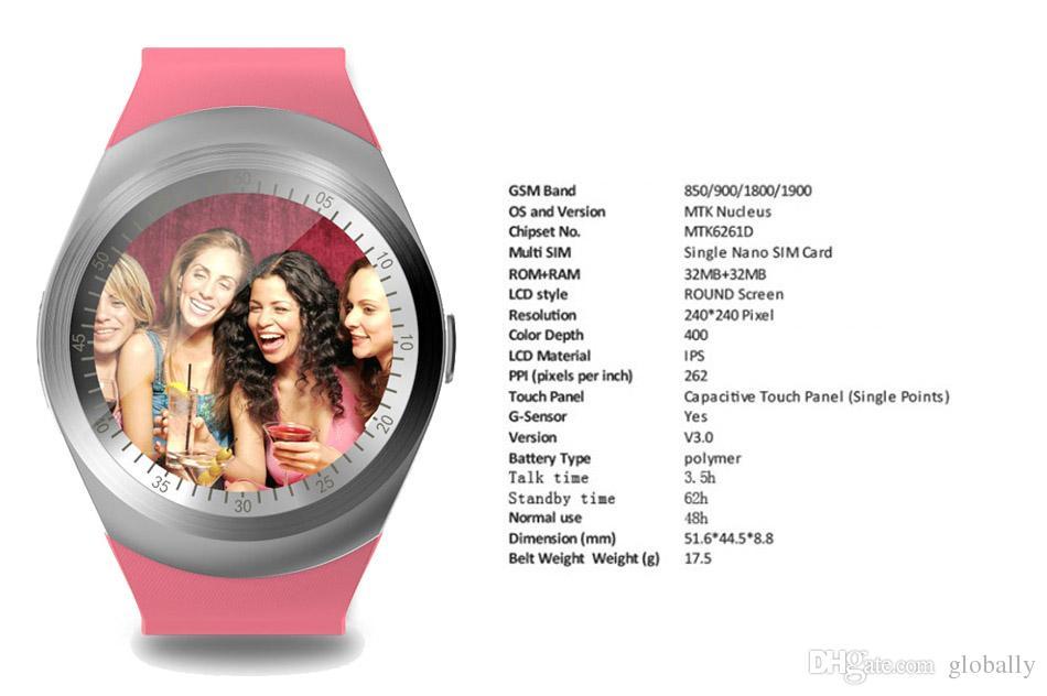 Großhandels Y1 intelligente Uhr runde Wrisbrand Android Gebrauch 2G SIM-Karte intelligenten Handy Smartwatch