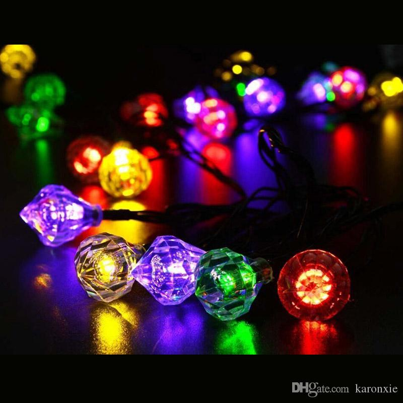 20leds led solar light outdoor christmas decorations for home waterproof string lights diamond fairy lights garden decoration string fairy lights large bulb - Led Outdoor Christmas Decorations