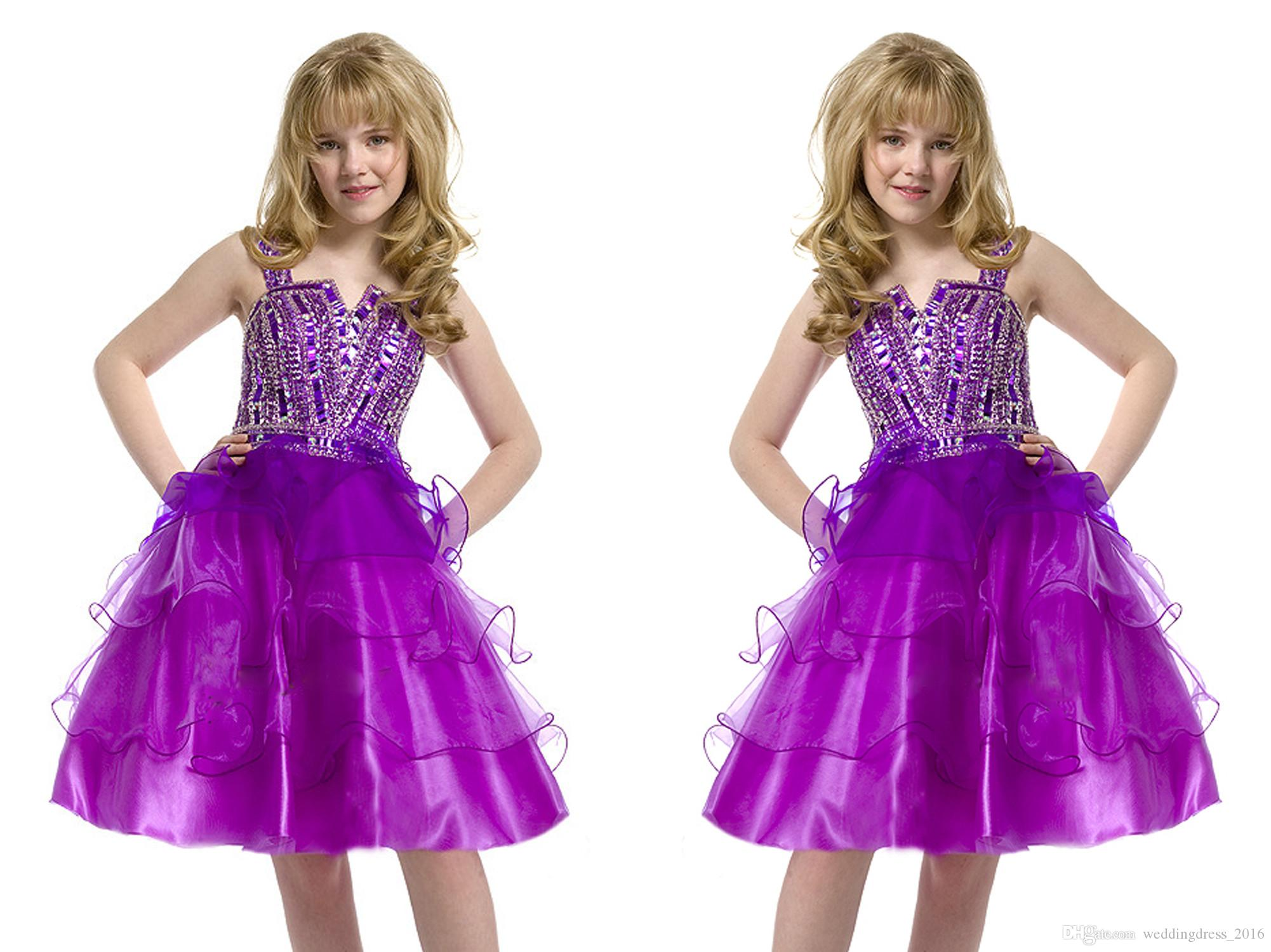 Purple Pre Teen Crystal Little Girls Pageant Dresses