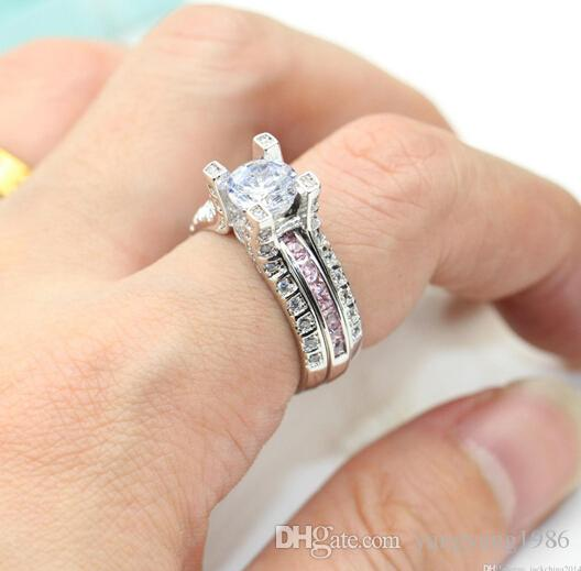 Wholesale fine fashion jewelry 10kt diamond Rings white gold filled Gf pink topaz Wedding Engagement Band Ring set with box