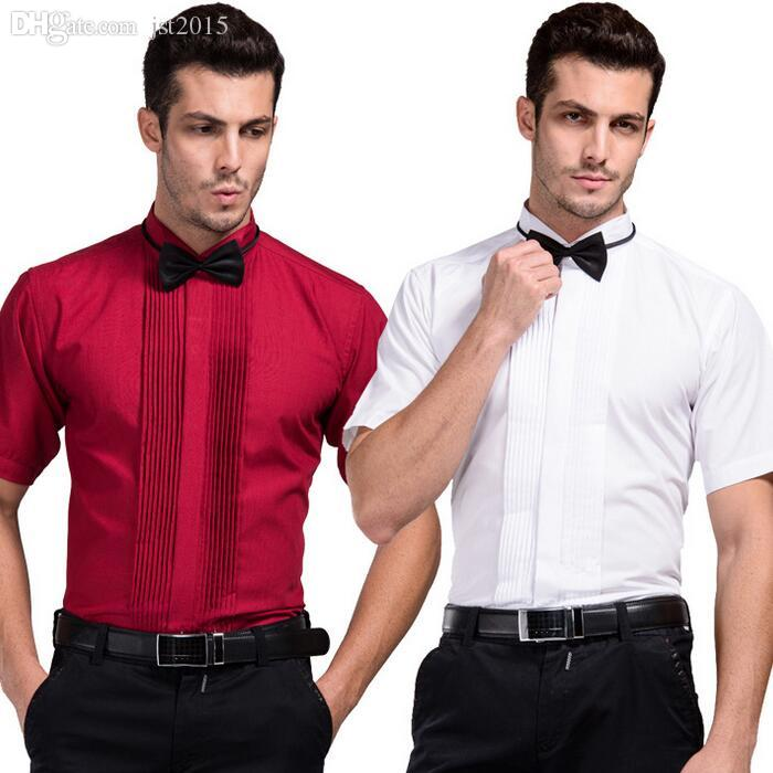 91f046b3f0ef 2019 Wholesale Men Summer Wedding Shirt Short Sleeve Tuxedo Shirts With  Bowtie 2016 New Dress Shirt For Best Man From Jst2015